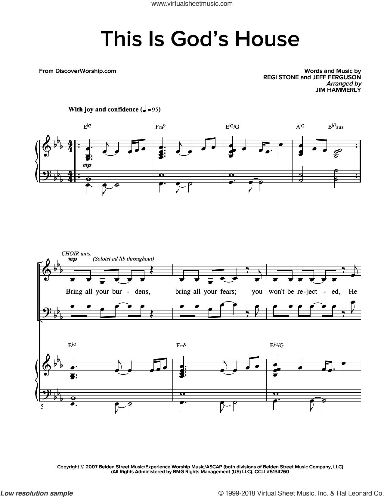 This Is God's House sheet music for choir and piano (SATB) by Ferguson and Stone. Score Image Preview.