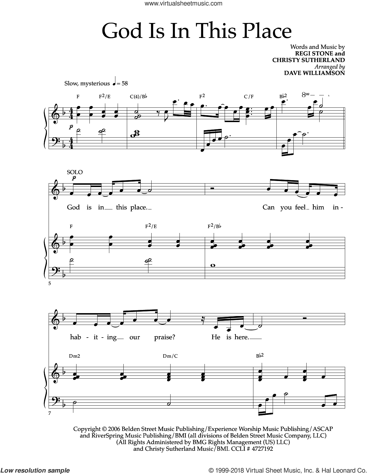 God Is In This Place sheet music for choir (SATB: soprano, alto, tenor, bass) by Regi Stone and Christy Sutherland, intermediate