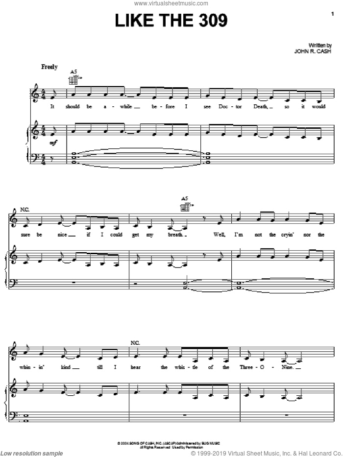 Like The 309 sheet music for voice, piano or guitar by Johnny Cash, intermediate. Score Image Preview.