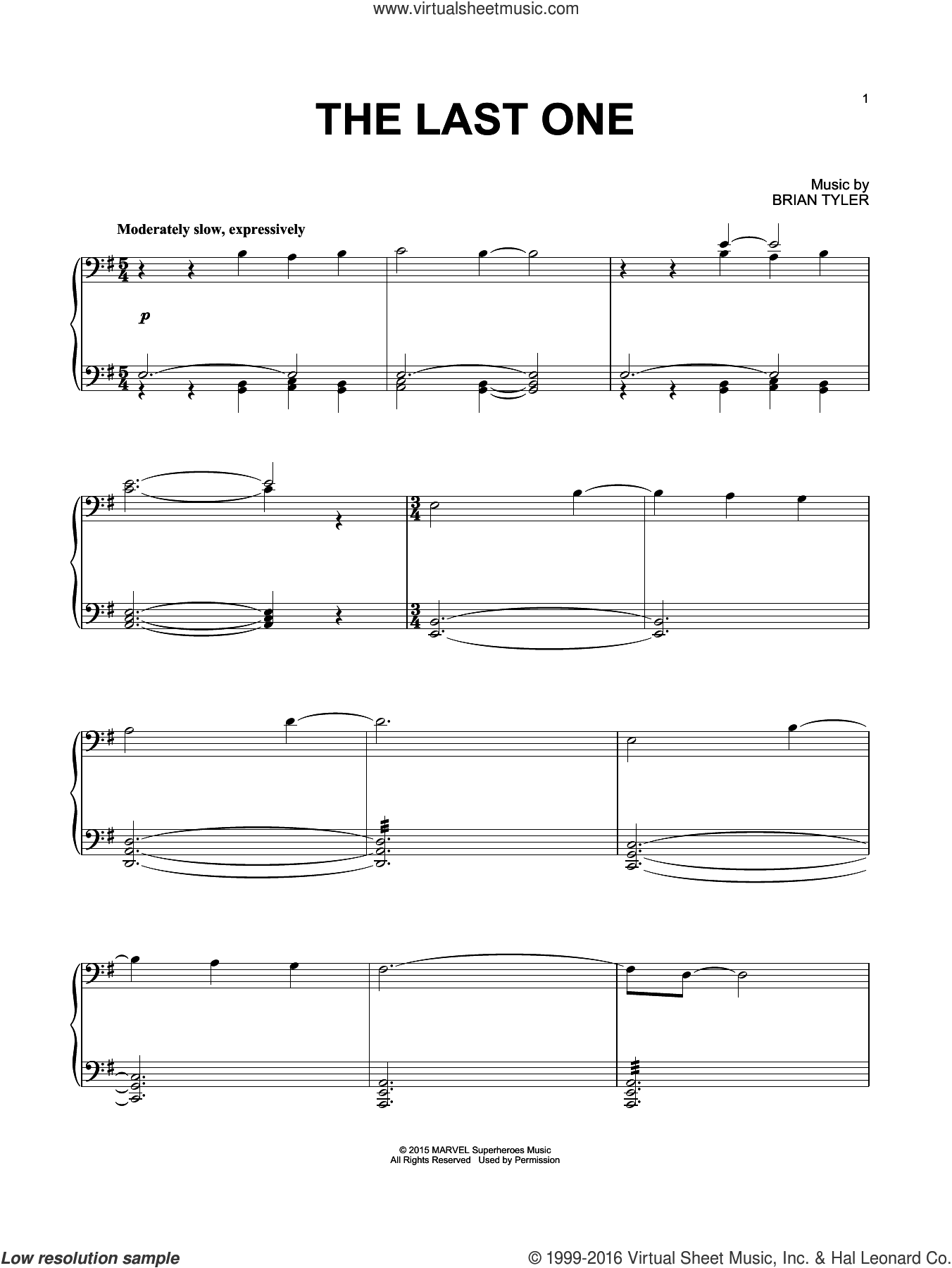 The Last One sheet music for piano solo by Brian Tyler. Score Image Preview.