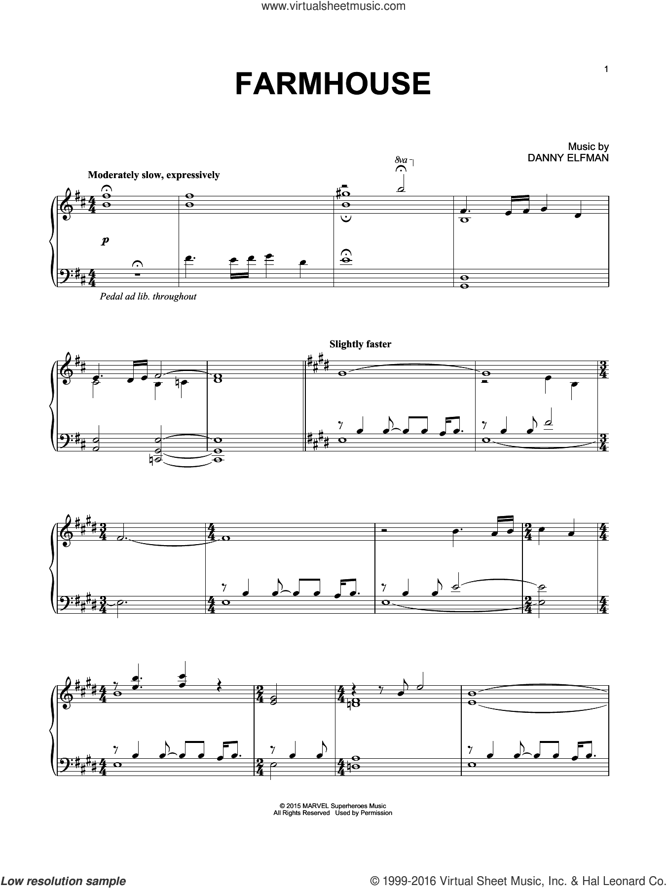 Farmhouse sheet music for piano solo by Danny Elfman. Score Image Preview.