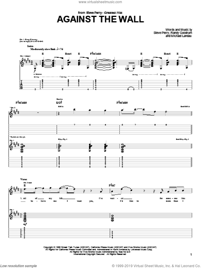 Against The Wall sheet music for guitar (tablature) by Journey, Michael Landau, Randy Goodrum and Steve Perry, intermediate skill level