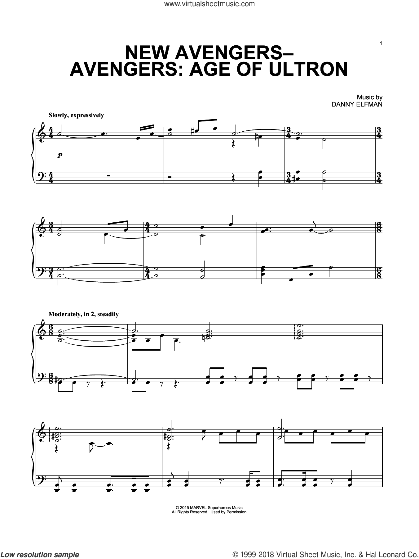 New Avengers-Avengers: Age Of Ultron sheet music for piano solo by Danny Elfman. Score Image Preview.