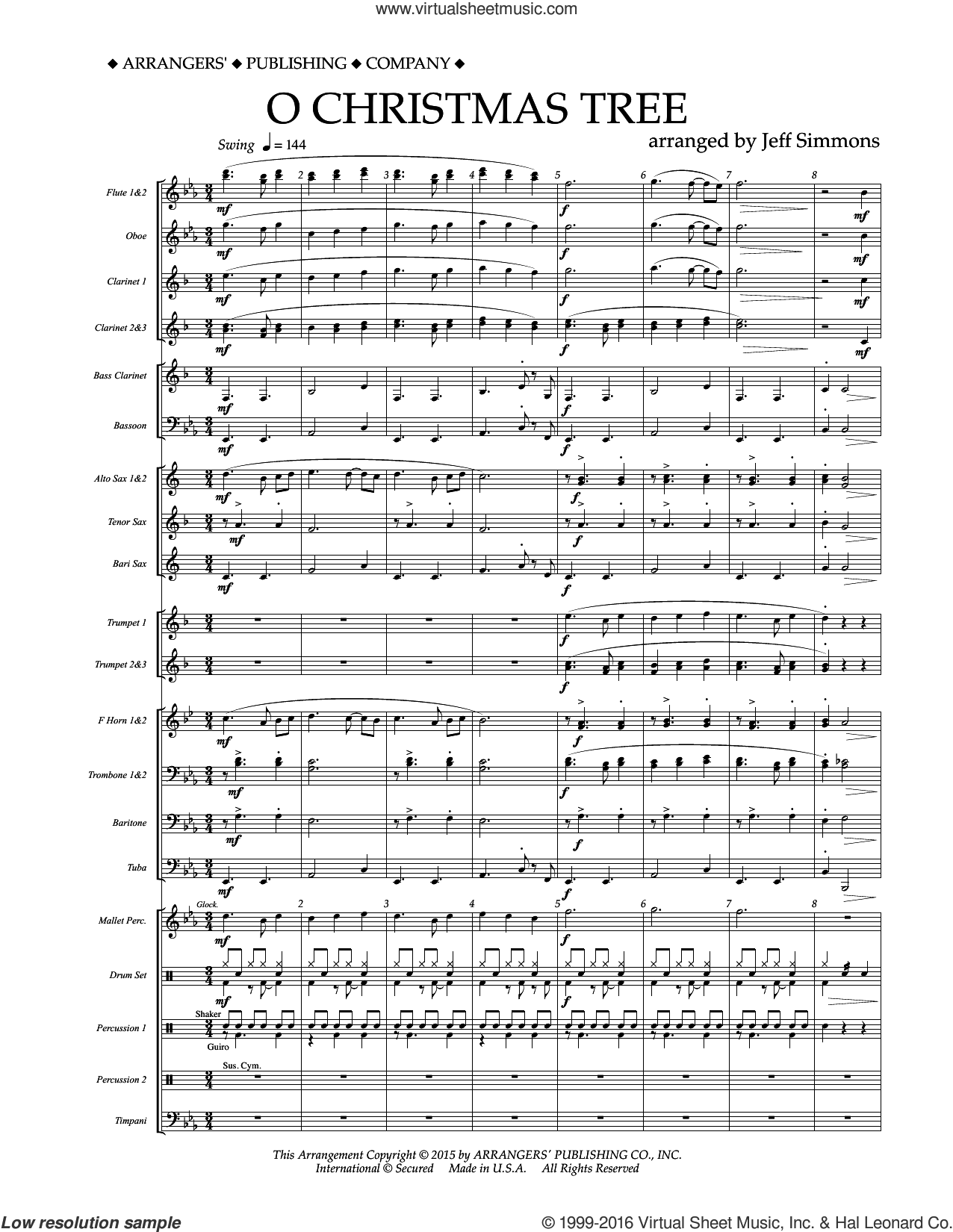 O Christmas Tree sheet music for concert band (full score) by Jeff Simmons and Miscellaneous. Score Image Preview.