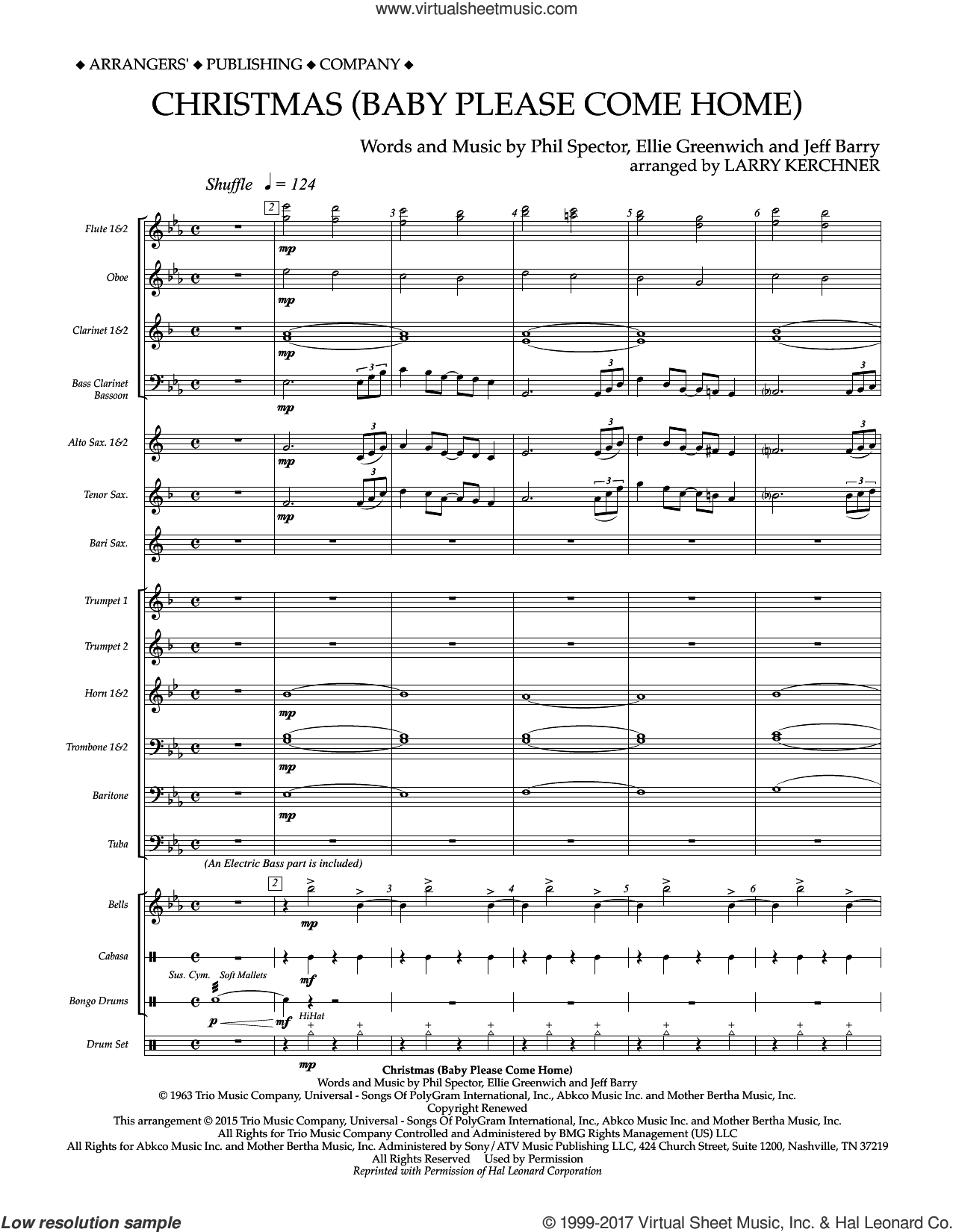 Christmas (Baby Please Come Home) (COMPLETE) sheet music for concert band by Mariah Carey, Ellie Greenwich, Jeff Barry and Phil Spector, intermediate. Score Image Preview.