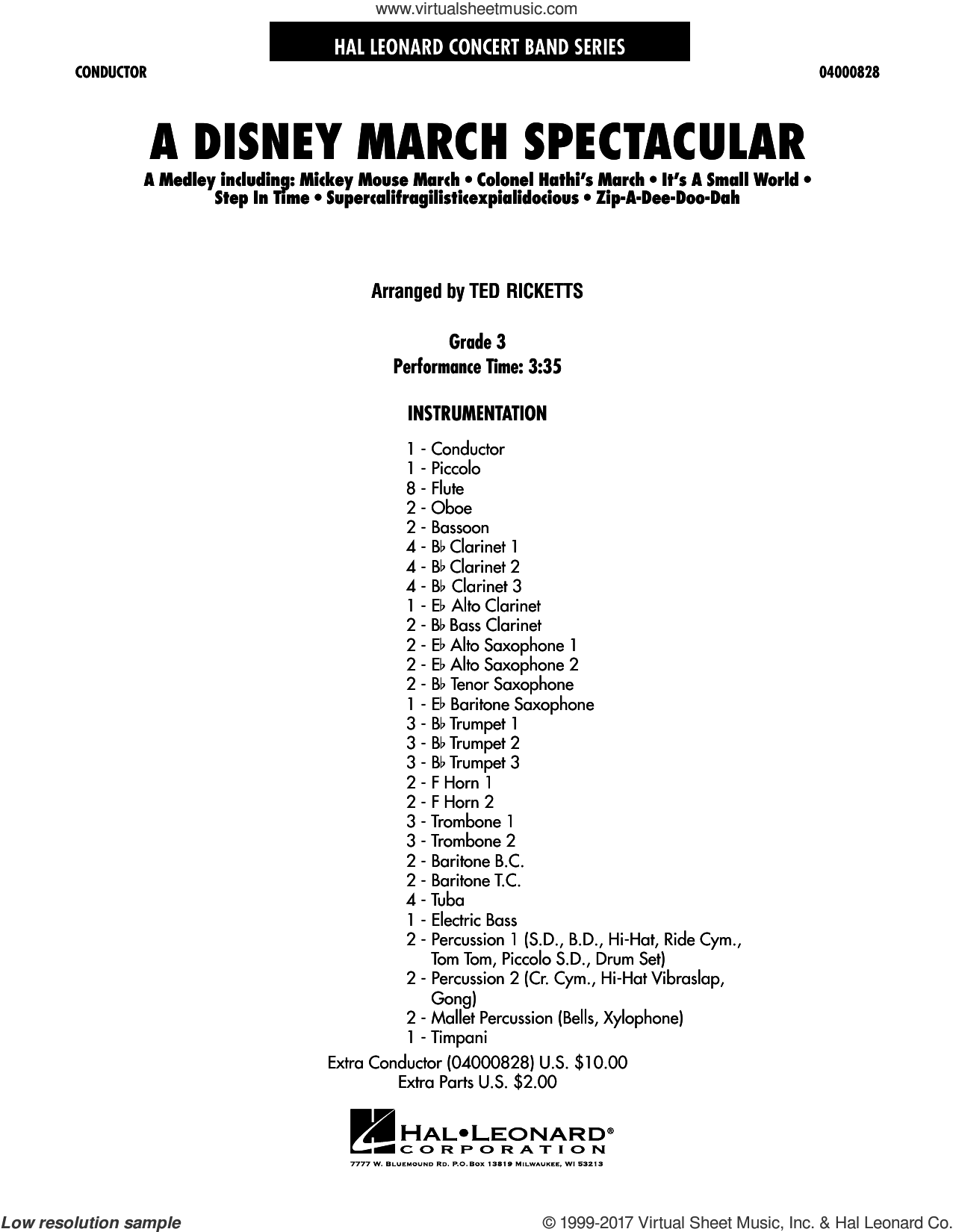 A Disney March Spectacular (COMPLETE) sheet music for concert band by Ted Ricketts, intermediate concert band. Score Image Preview.