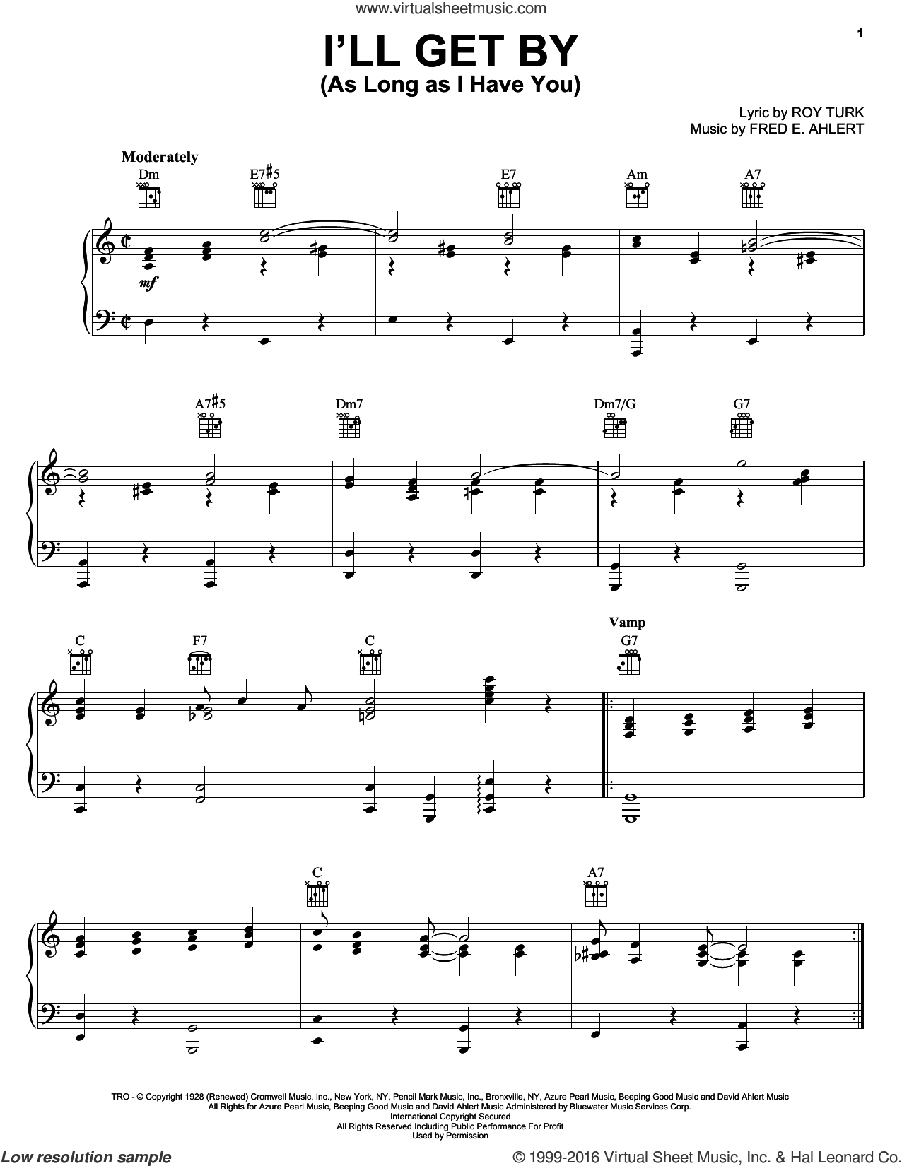 I'll Get By (As Long As I Have You) sheet music for voice, piano or guitar by Roy Turk