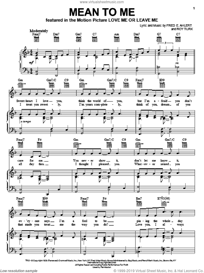 Mean To Me sheet music for voice, piano or guitar by Billie Holiday, Lester Young, Sarah Vaughan, Fred Ahlert and Roy Turk, intermediate skill level