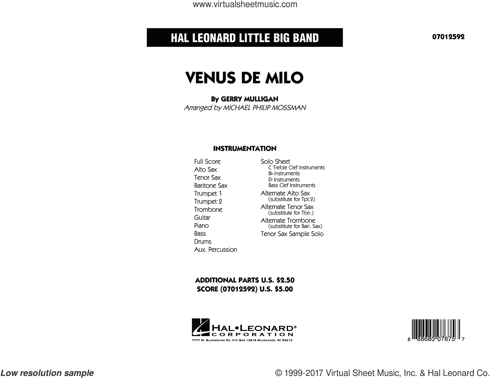 Venus de Milo (COMPLETE) sheet music for jazz band by Miles Davis, Gerry Mulligan and Michael Philip Mossman, intermediate. Score Image Preview.