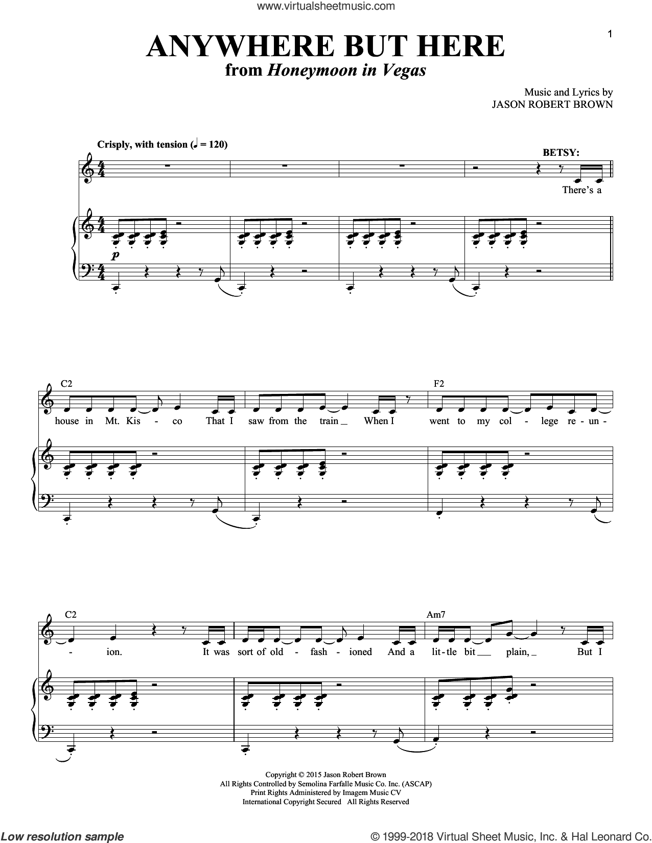 Anywhere But Here (from Honeymoon In Vegas) Sheet