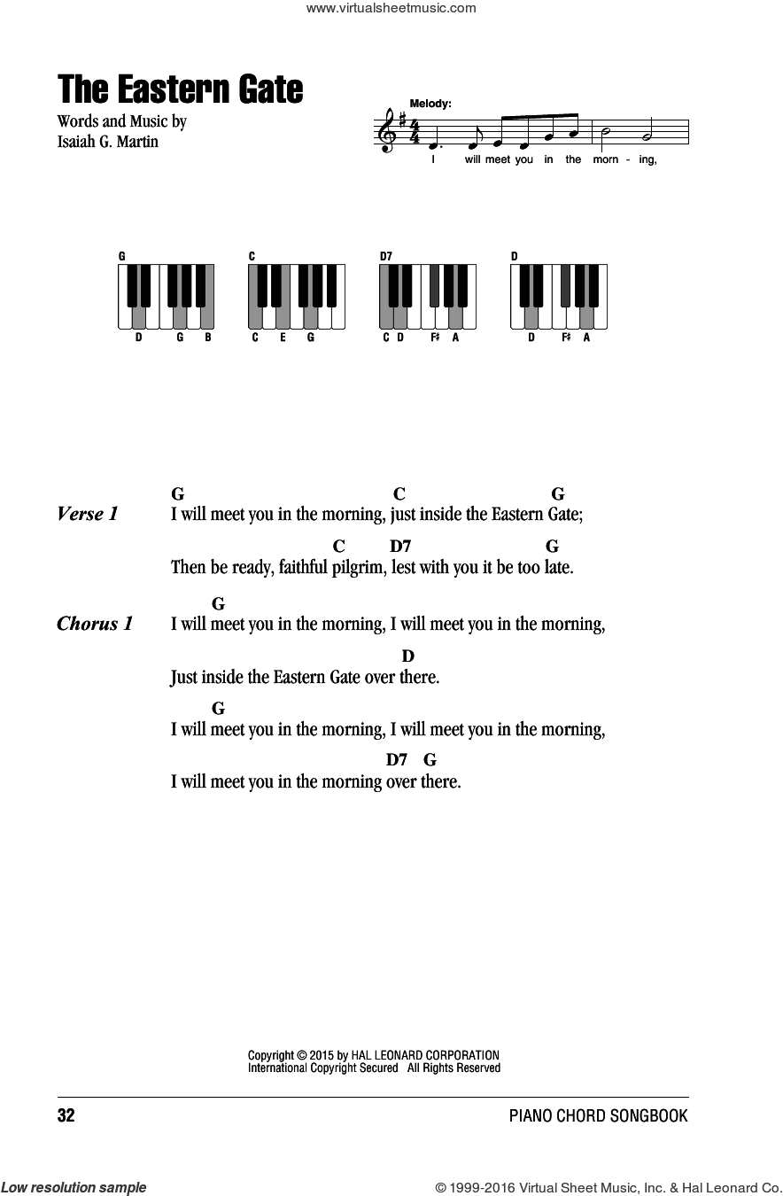 The Eastern Gate sheet music for piano solo (chords, lyrics, melody) by Isaiah G. Martin, intermediate piano (chords, lyrics, melody)