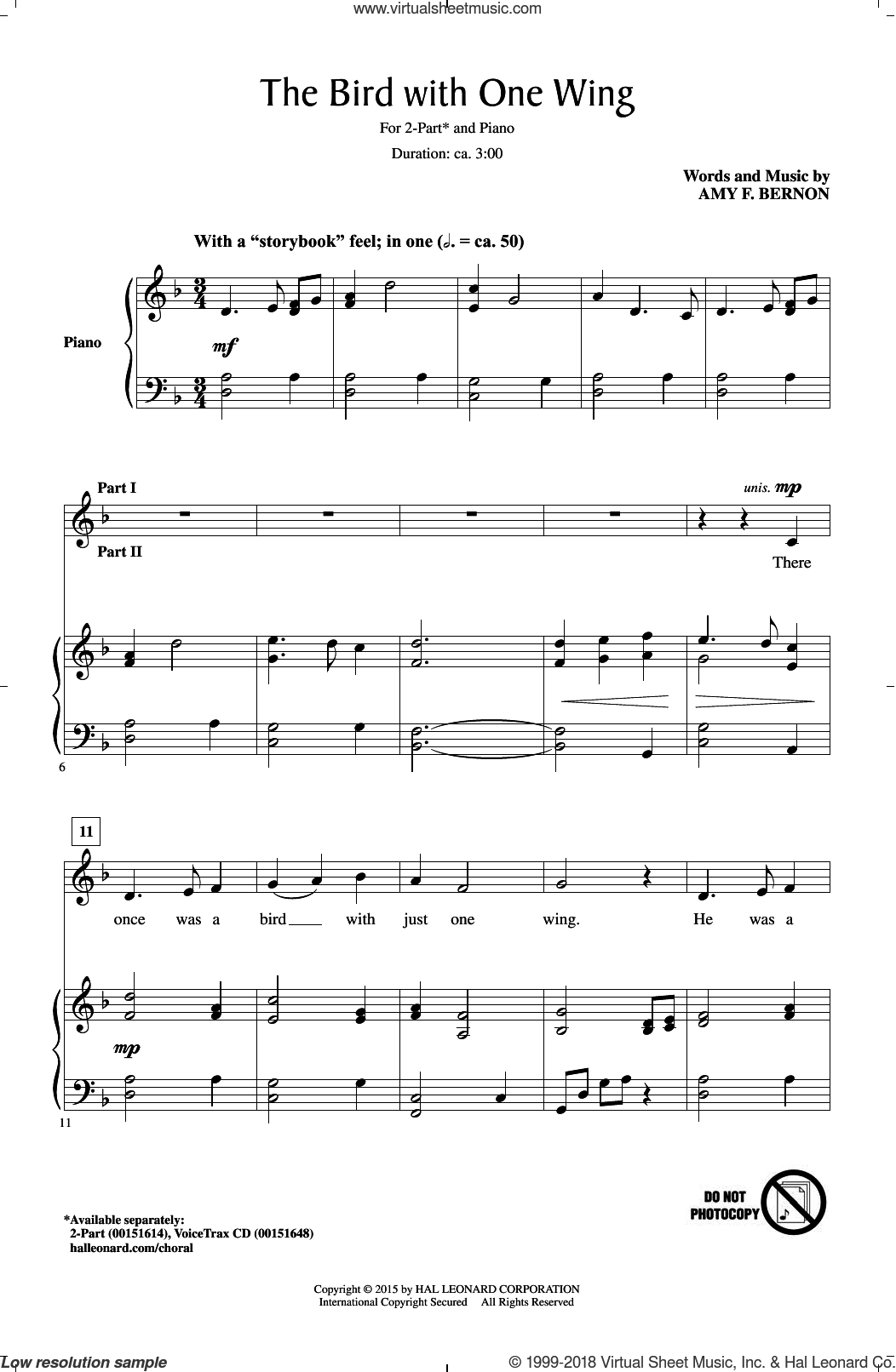 The Bird With One Wing sheet music for choir (2-Part) by Amy Bernon and Amy F. Bernon, intermediate duet. Score Image Preview.