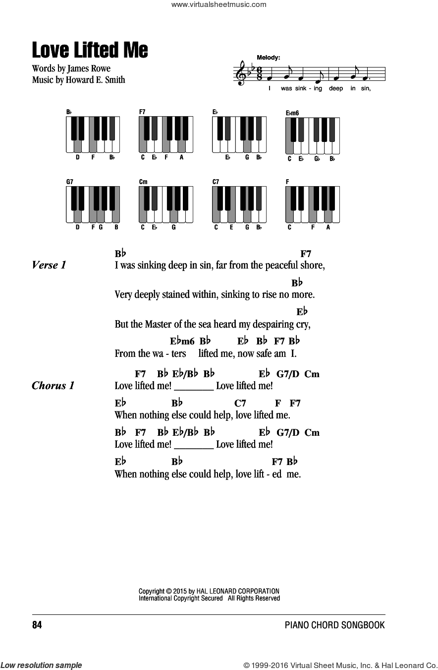 Love Lifted Me sheet music for piano solo (chords, lyrics, melody) by James Rowe, intermediate piano (chords, lyrics, melody). Score Image Preview.