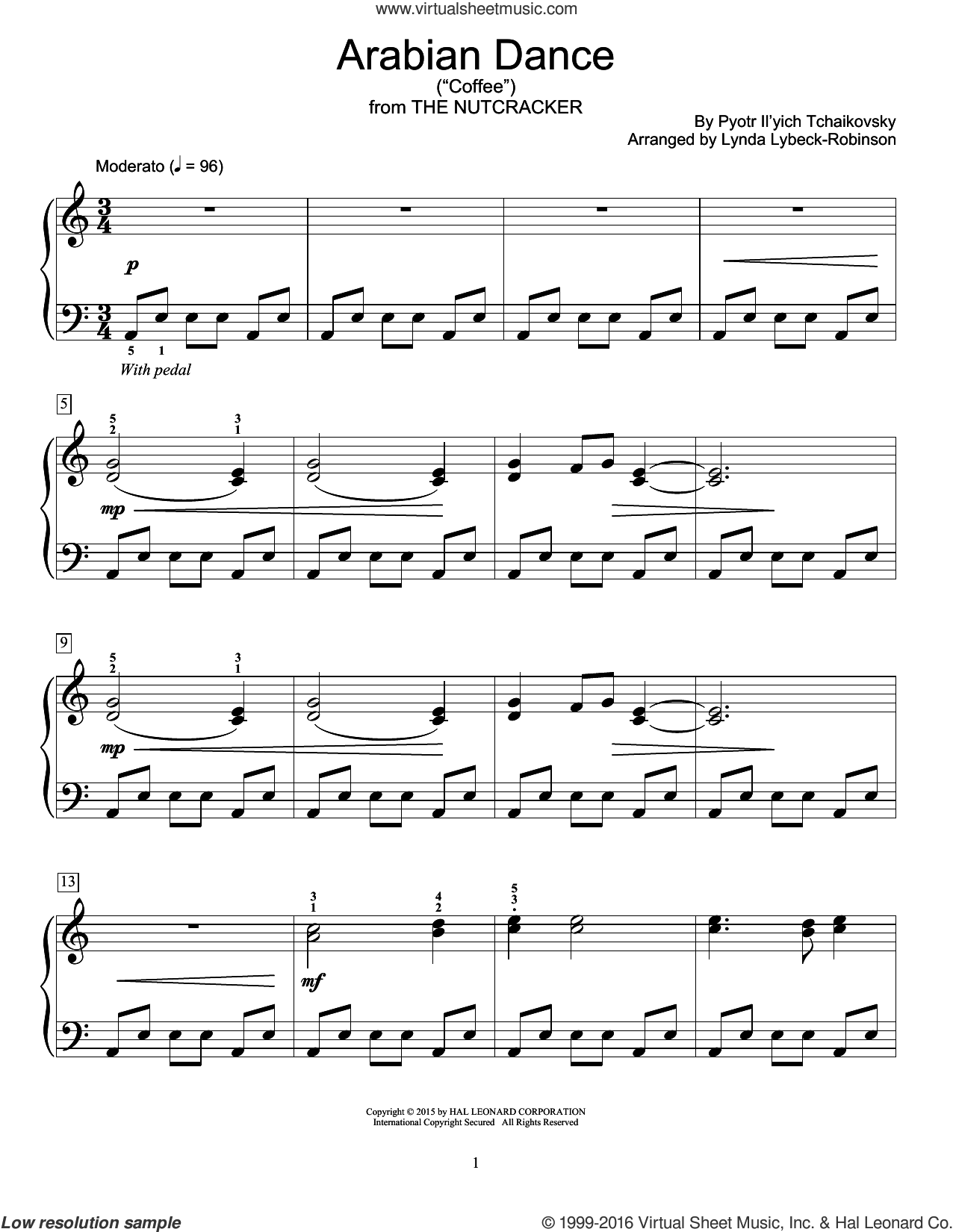 Arabian Dance ('Coffee') sheet music for piano solo (elementary) by Pyotr Ilyich Tchaikovsky and Lynda Lybeck-Robinson, classical score, beginner piano (elementary)