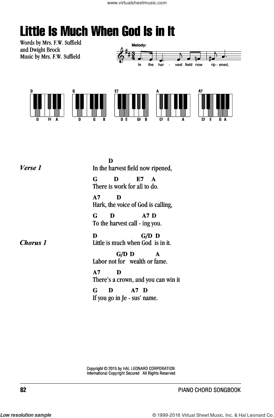 Little Is Much When God Is In It sheet music for piano solo (chords, lyrics, melody) by Mrs. F.W. Suffield. Score Image Preview.