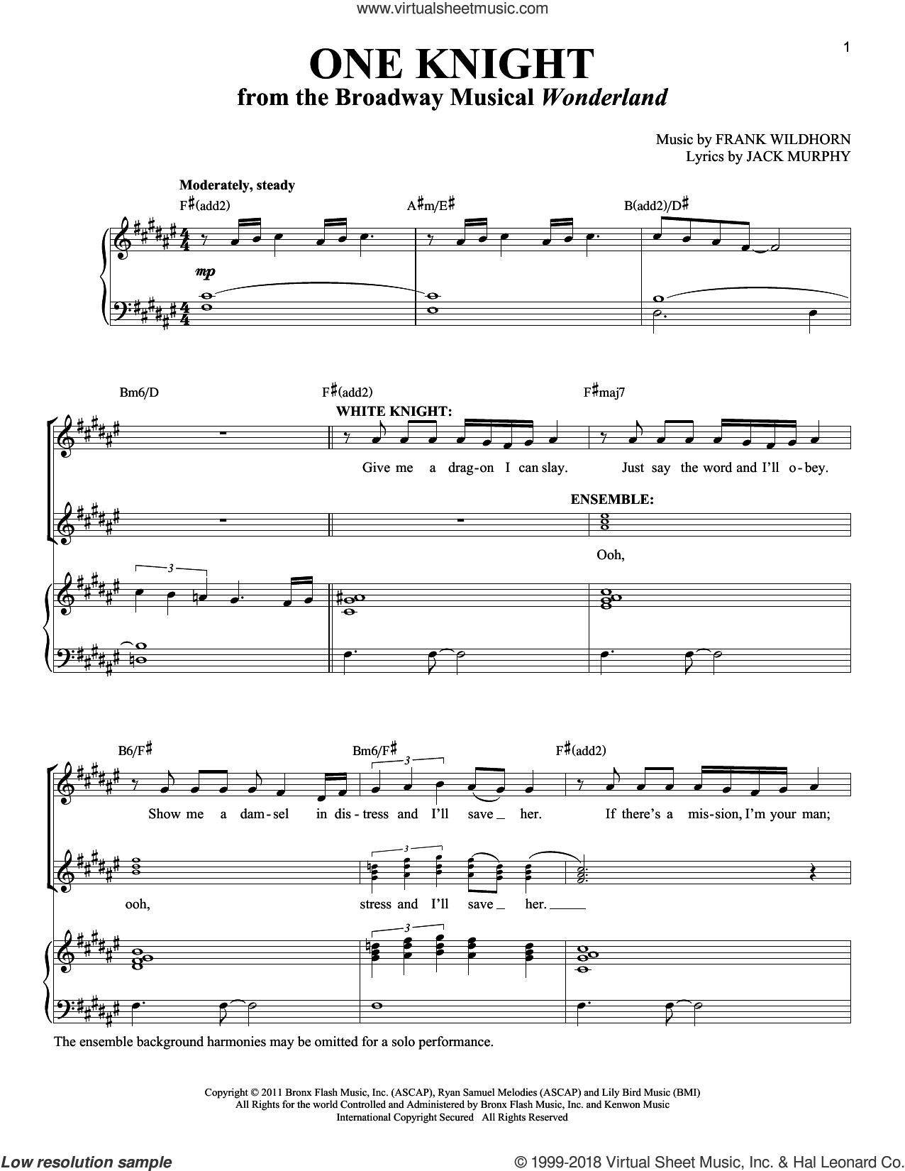 One Knight sheet music for voice and piano (Tenor) by Frank Wildhorn, Richard Walters and Jack Murphy, intermediate skill level