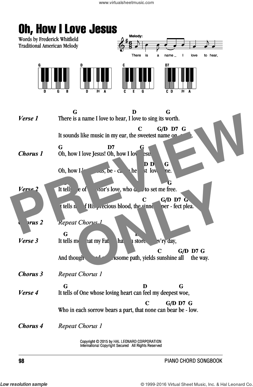 Oh, How I Love Jesus (O How I Love Jesus) sheet music for piano solo (chords, lyrics, melody). Score Image Preview.