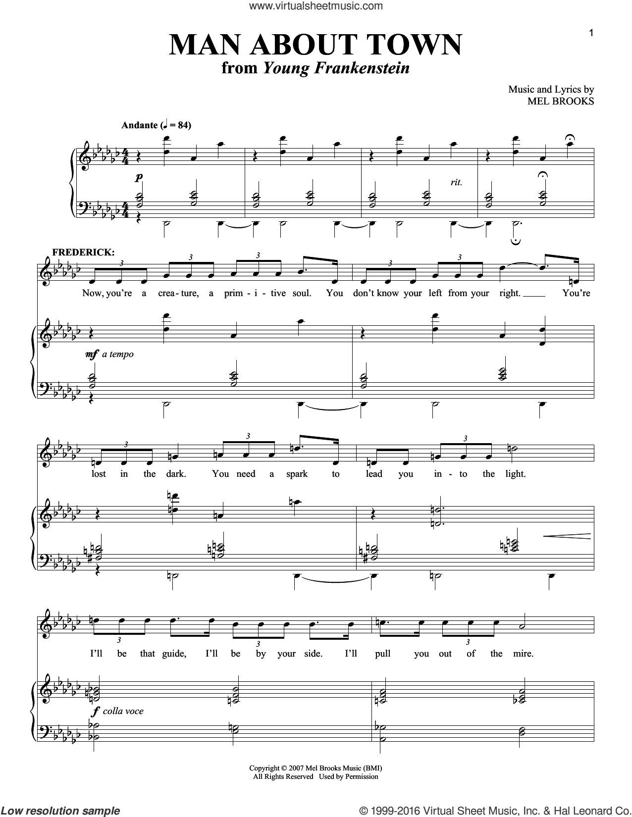 Man About Town sheet music for voice and piano by Mel Brooks and Richard Walters, intermediate skill level