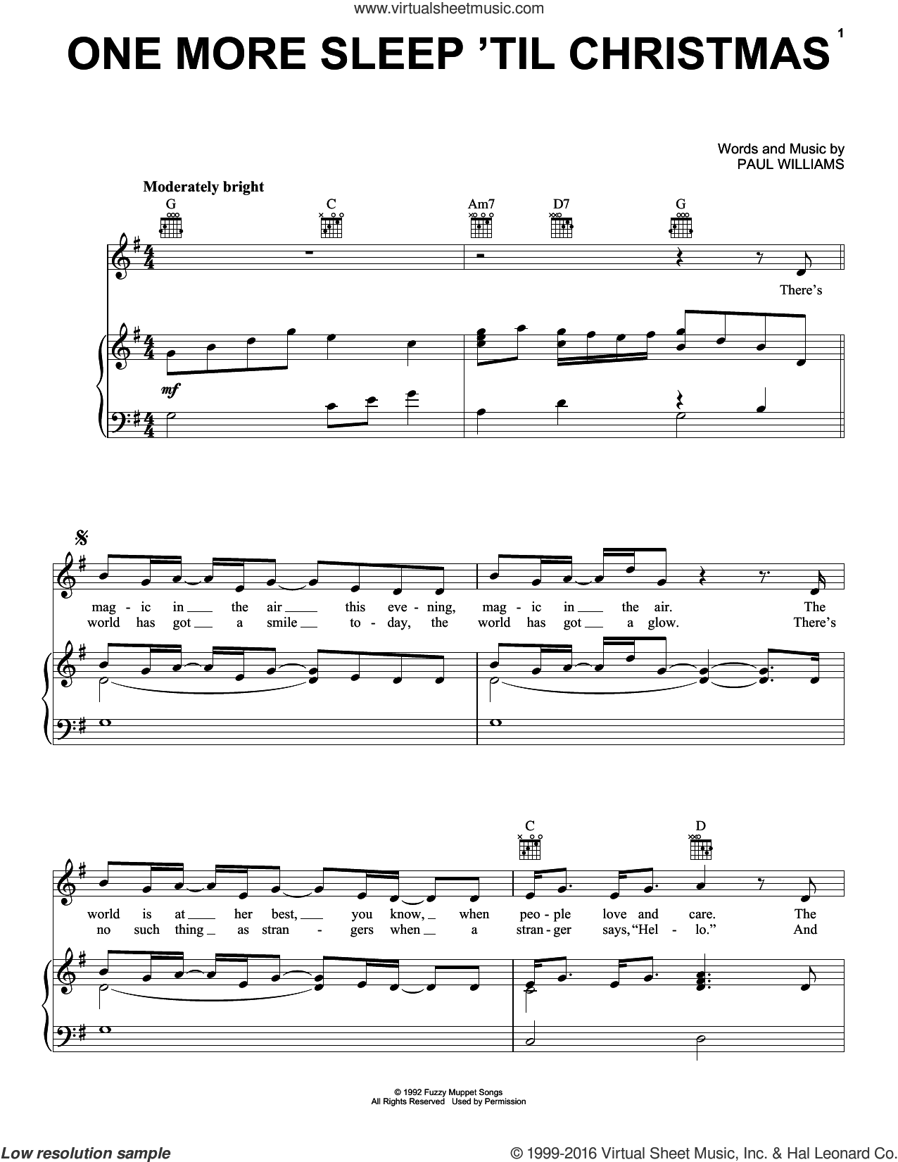 One More Sleep 'Til Christmas (from The Muppet Christmas Carol) sheet music for voice, piano or guitar by Paul Williams, intermediate skill level