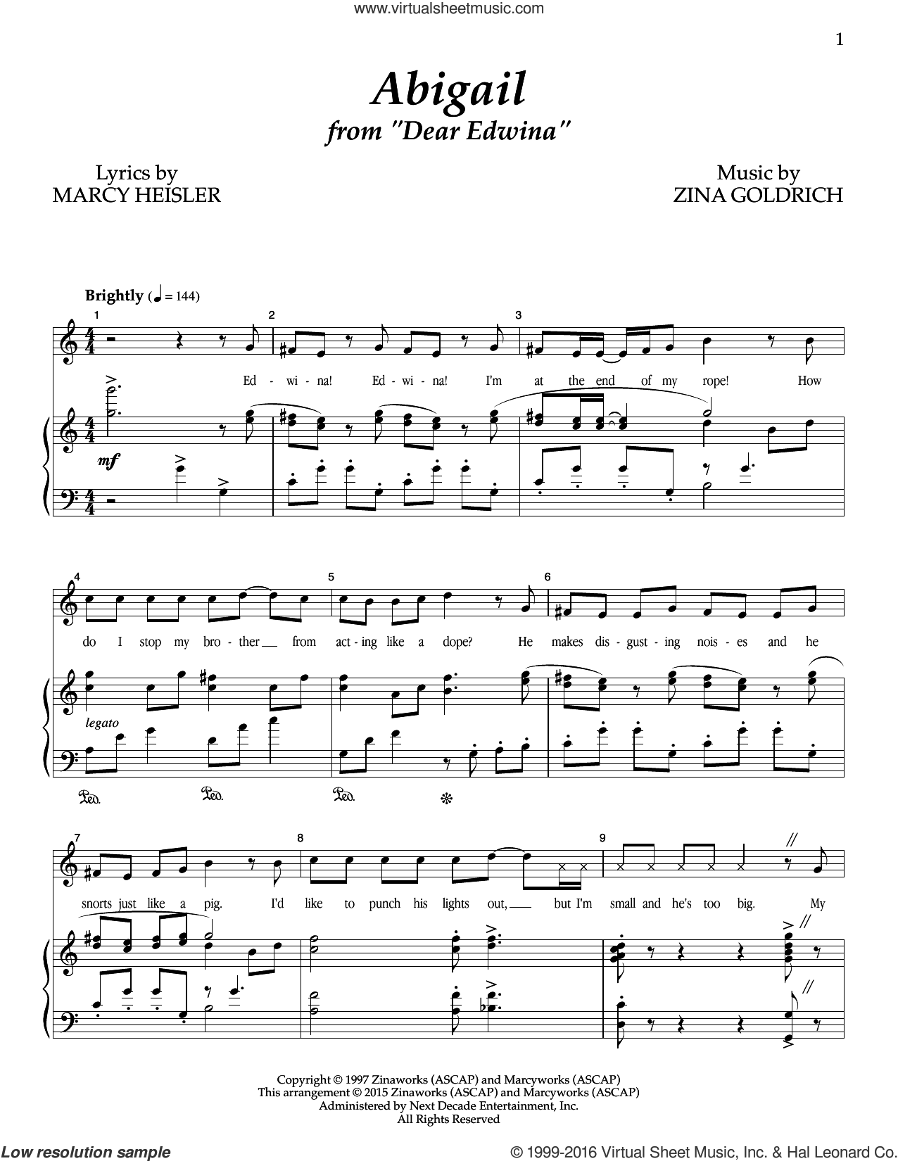 Abigail sheet music for voice and piano by Zina Goldrich, Goldrich & Heisler and Marcy Heisler. Score Image Preview.