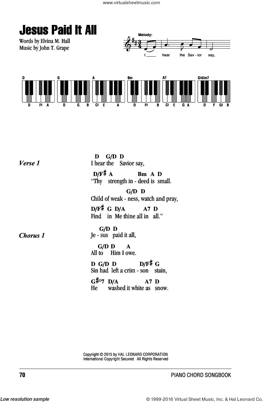 Jesus Paid It All sheet music for piano solo (chords, lyrics, melody) by John T. Grape and Elvina M. Hall, intermediate piano (chords, lyrics, melody). Score Image Preview.
