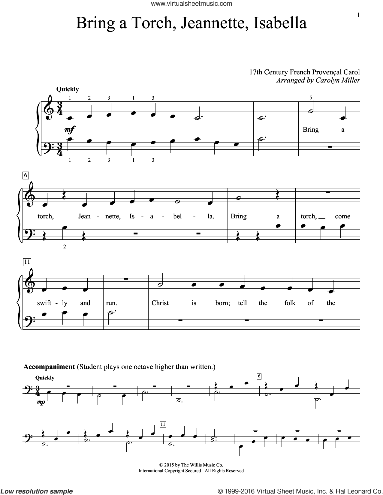 Bring A Torch, Jeannette, Isabella sheet music for piano solo (elementary) by Anonymous and Miscellaneous, beginner piano (elementary). Score Image Preview.