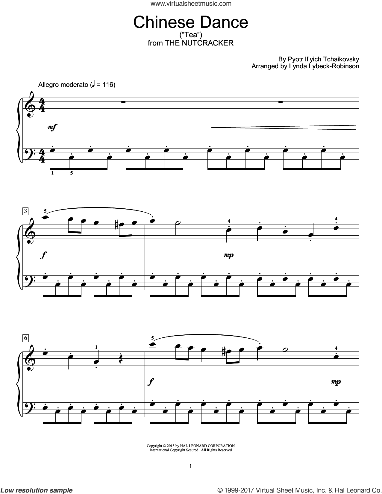 Chinese Dance ('Tea') sheet music for piano solo (elementary) by Pyotr Ilyich Tchaikovsky and Lynda Lybeck-Robinson, beginner piano (elementary)
