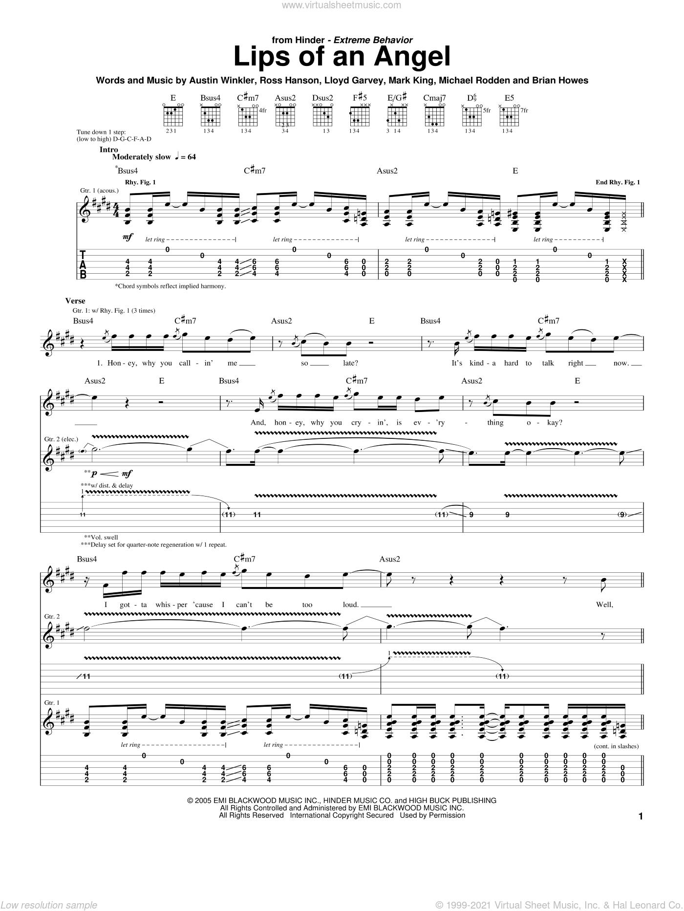 Lips Of An Angel sheet music for guitar (tablature) by Hinder, Austin Winkler, Brian Howes, Lloyd Garvey, Mark King, Michael Rodden and Ross Hanson, intermediate skill level