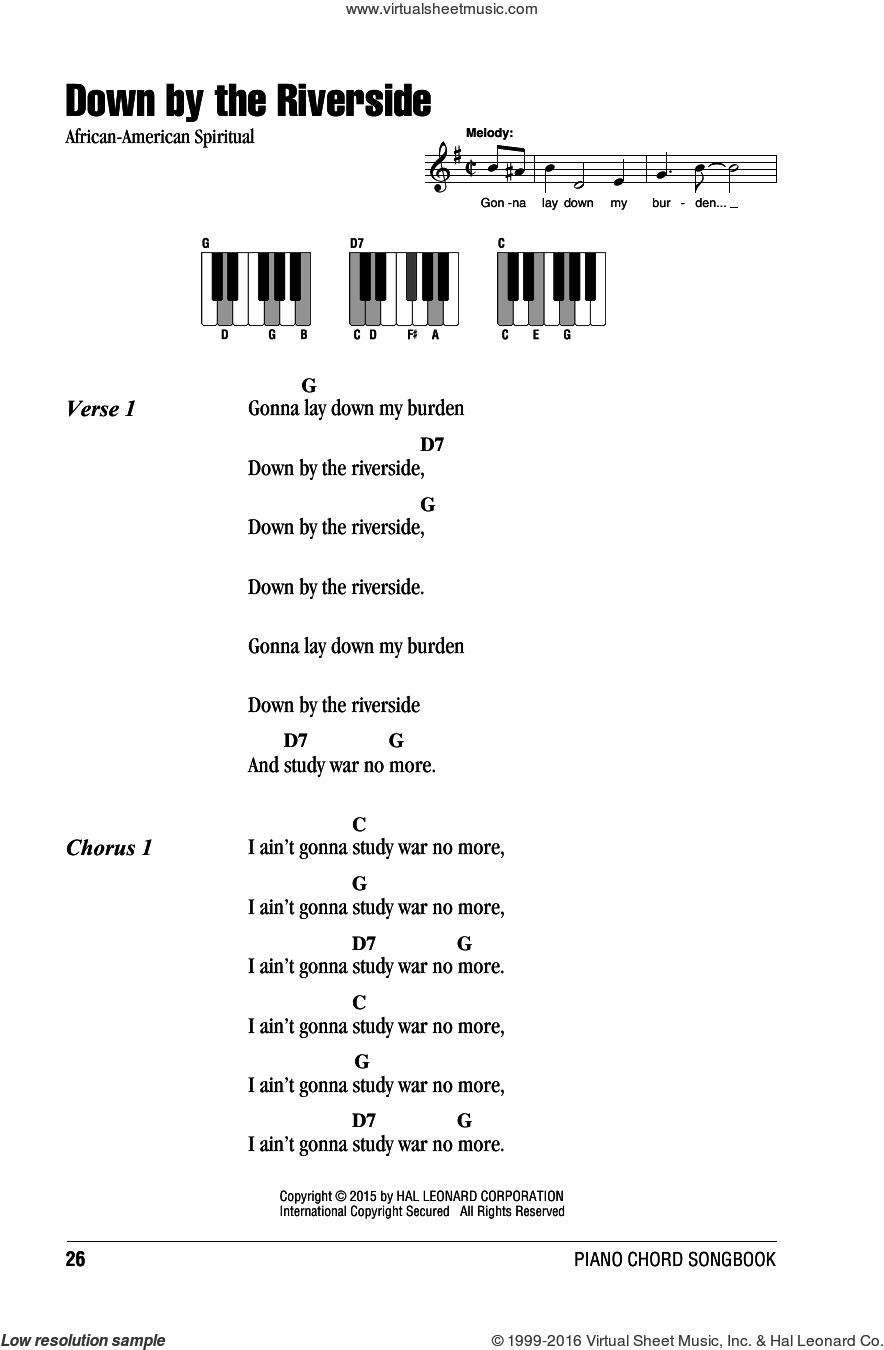 Down By The Riverside sheet music for piano solo (chords, lyrics, melody). Score Image Preview.