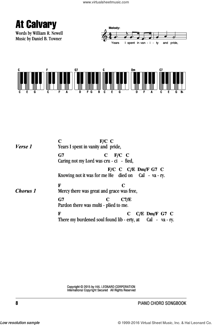 At Calvary sheet music for piano solo (chords, lyrics, melody) by Daniel B. Towner and William R. Newell. Score Image Preview.