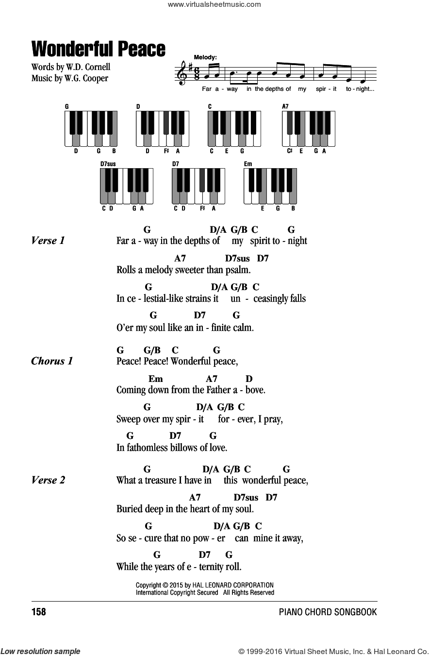 Wonderful Peace sheet music for piano solo (chords, lyrics, melody) by W.D. Cornell and W.G. Cooper, intermediate piano (chords, lyrics, melody)