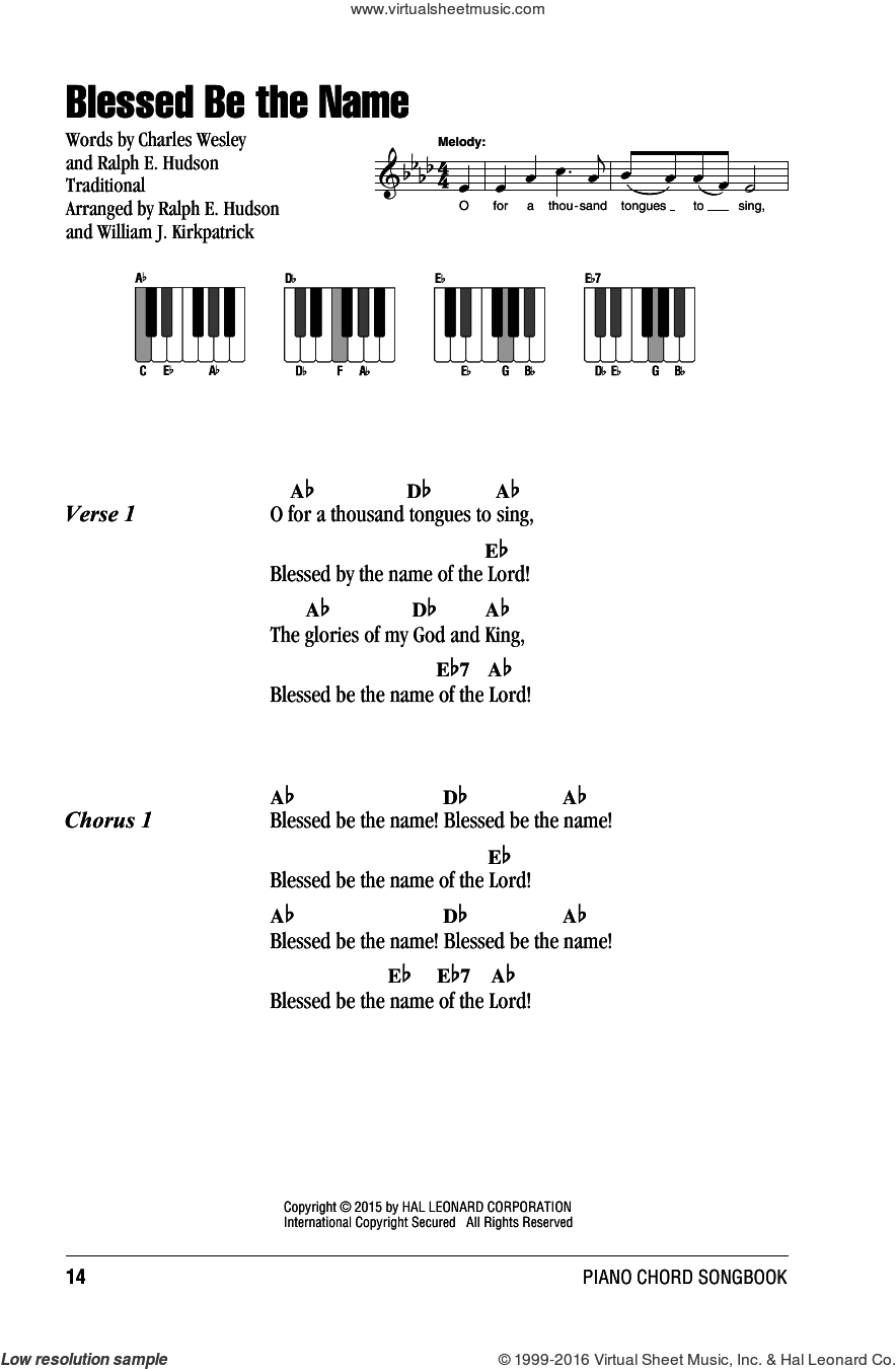Blessed Be The Name sheet music for piano solo (chords, lyrics, melody) by William J. Kirkpatrick, Charles Wesley and Ralph Hudson, intermediate piano (chords, lyrics, melody)