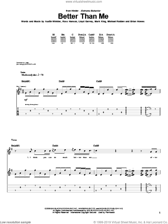 Better Than Me sheet music for guitar (tablature) by Ross Hanson and Brian Howes. Score Image Preview.