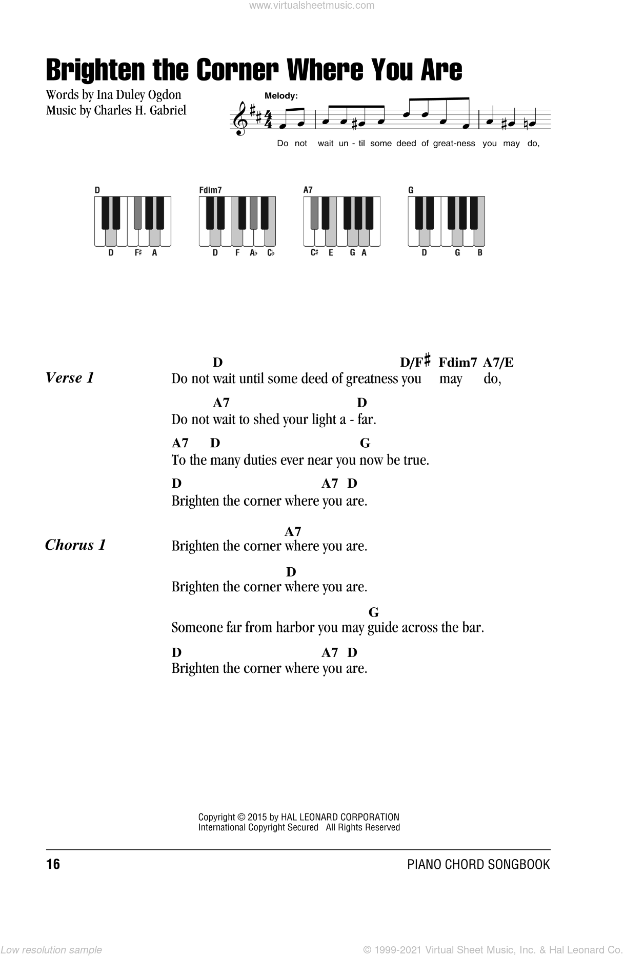 Brighten The Corner Where You Are sheet music for piano solo (chords, lyrics, melody) by Charles H. Gabriel and Ina Duley Ogdon, intermediate piano (chords, lyrics, melody)