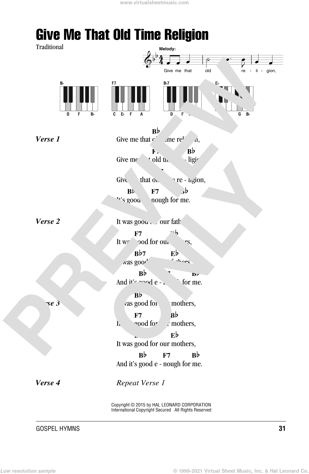 Give Me That Old Time Religion sheet music for piano solo (chords, lyrics, melody). Score Image Preview.