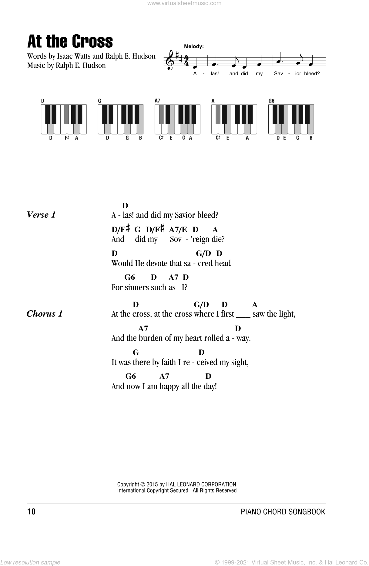 At The Cross sheet music for piano solo (chords, lyrics, melody) by Isaac Watts, intermediate piano (chords, lyrics, melody). Score Image Preview.