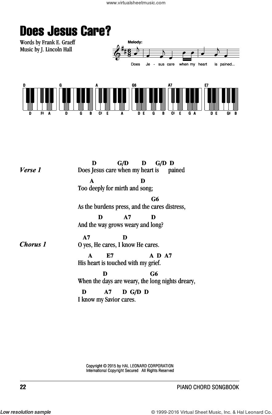 Does Jesus Care? sheet music for piano solo (chords, lyrics, melody) by J. Lincoln Hall. Score Image Preview.