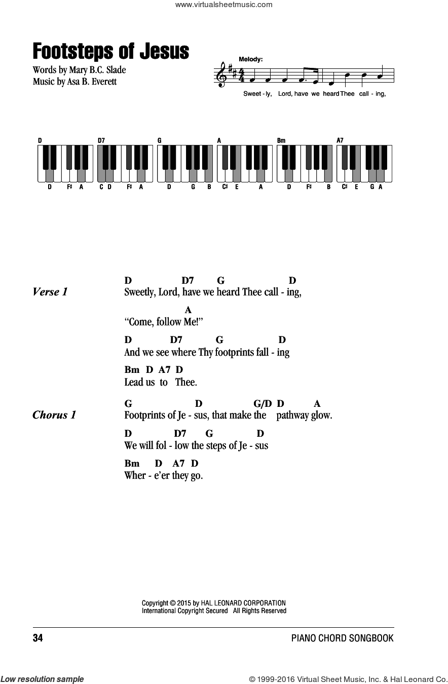 Footsteps Of Jesus sheet music for piano solo (chords, lyrics, melody) by Mary B.C. Slade, intermediate piano (chords, lyrics, melody). Score Image Preview.