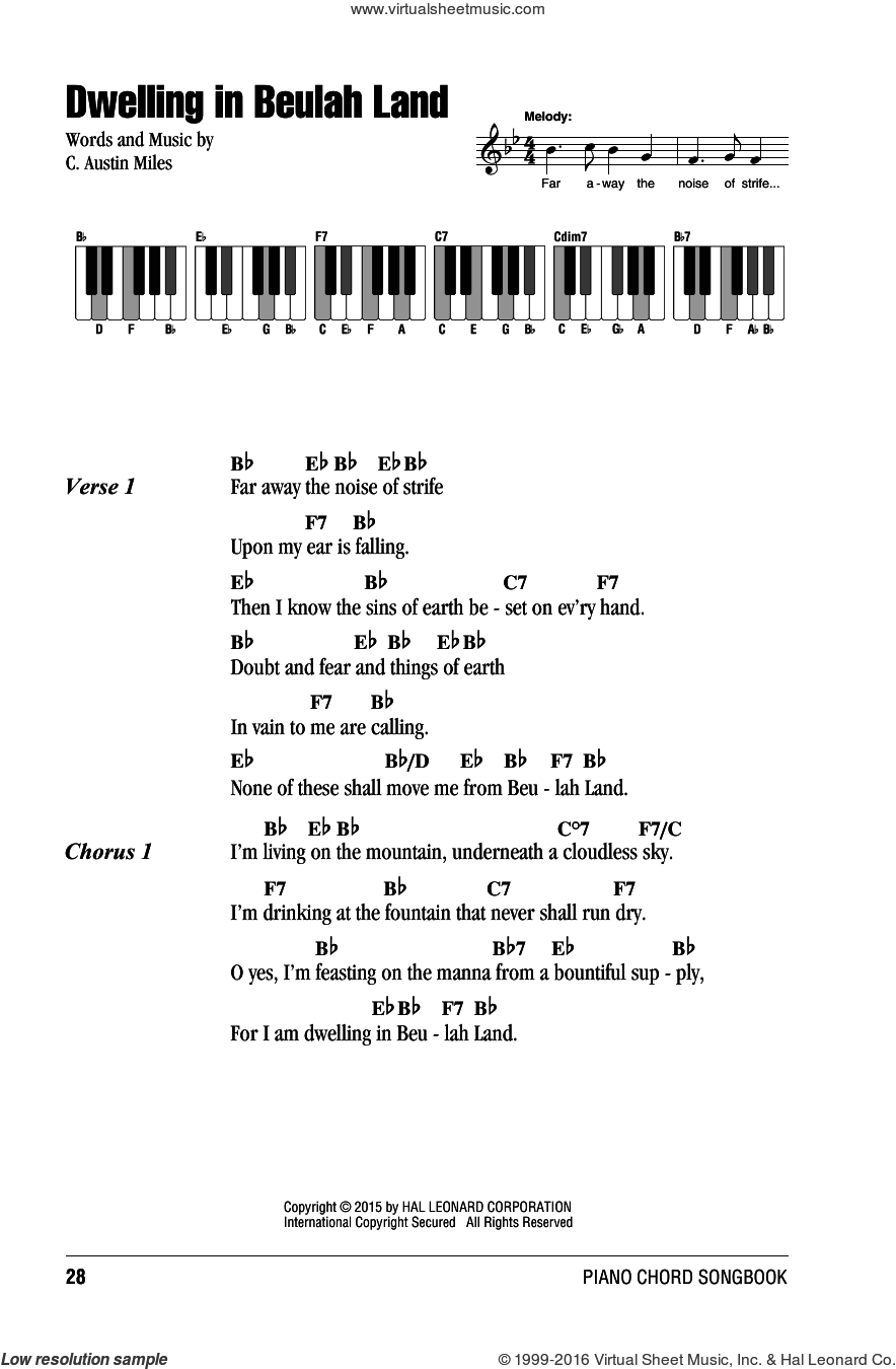 Dwelling In Beulah Land sheet music for piano solo (chords, lyrics, melody) by C. Austin Miles. Score Image Preview.