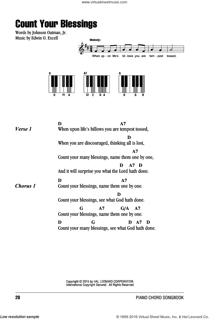 Count Your Blessings sheet music for piano solo (chords, lyrics, melody) by Edwin O. Excell and Johnson Oatman, Jr., intermediate piano (chords, lyrics, melody). Score Image Preview.