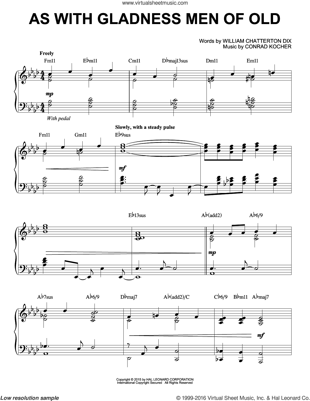 As With Gladness Men Of Old sheet music for piano solo by William Chatterton Dix and Conrad Kocher. Score Image Preview.