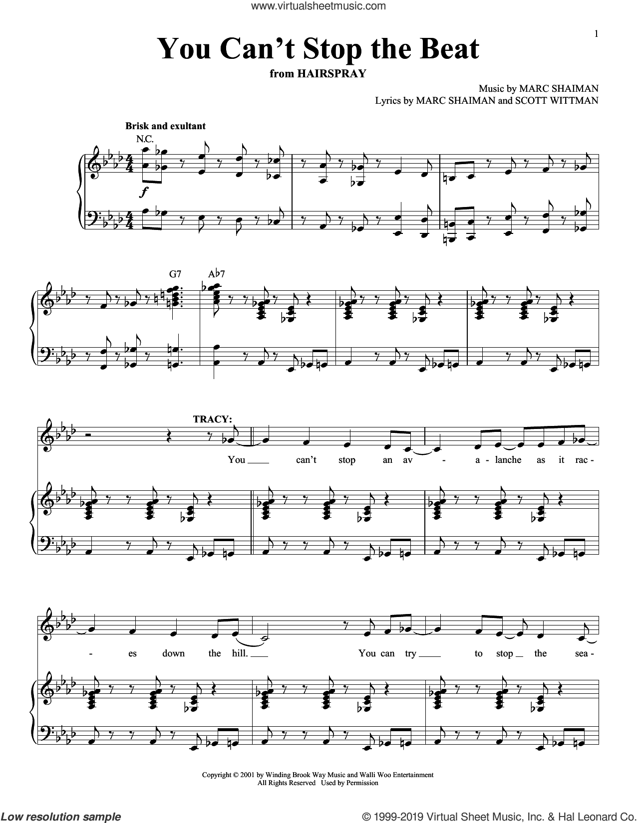 You Can't Stop The Beat sheet music for voice and piano by Marc Shaiman and Scott Wittman, intermediate skill level