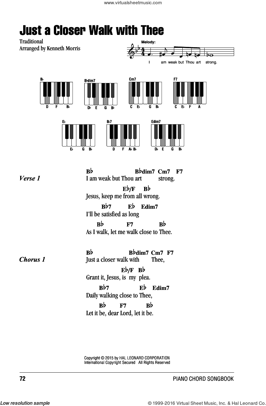 Just A Closer Walk With Thee sheet music for piano solo (chords, lyrics, melody) by Kenneth Morris, intermediate piano (chords, lyrics, melody). Score Image Preview.