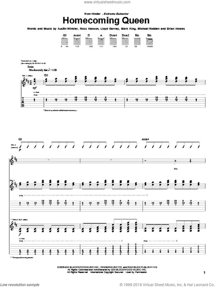 Homecoming Queen sheet music for guitar (tablature) by Hinder and Brian Howes, intermediate. Score Image Preview.