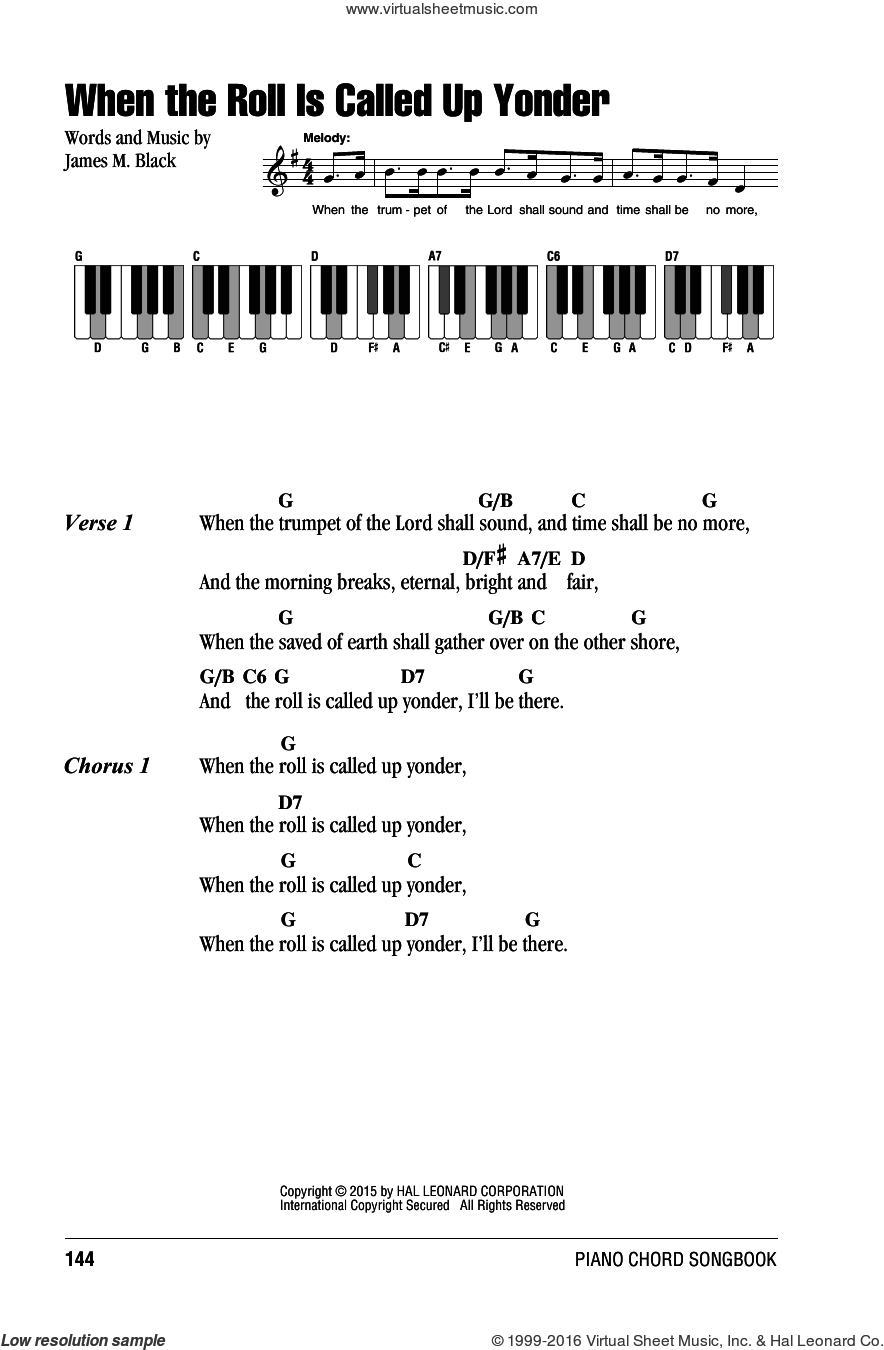 When The Roll Is Called Up Yonder sheet music for piano solo (chords, lyrics, melody) by James M. Black, intermediate piano (chords, lyrics, melody). Score Image Preview.