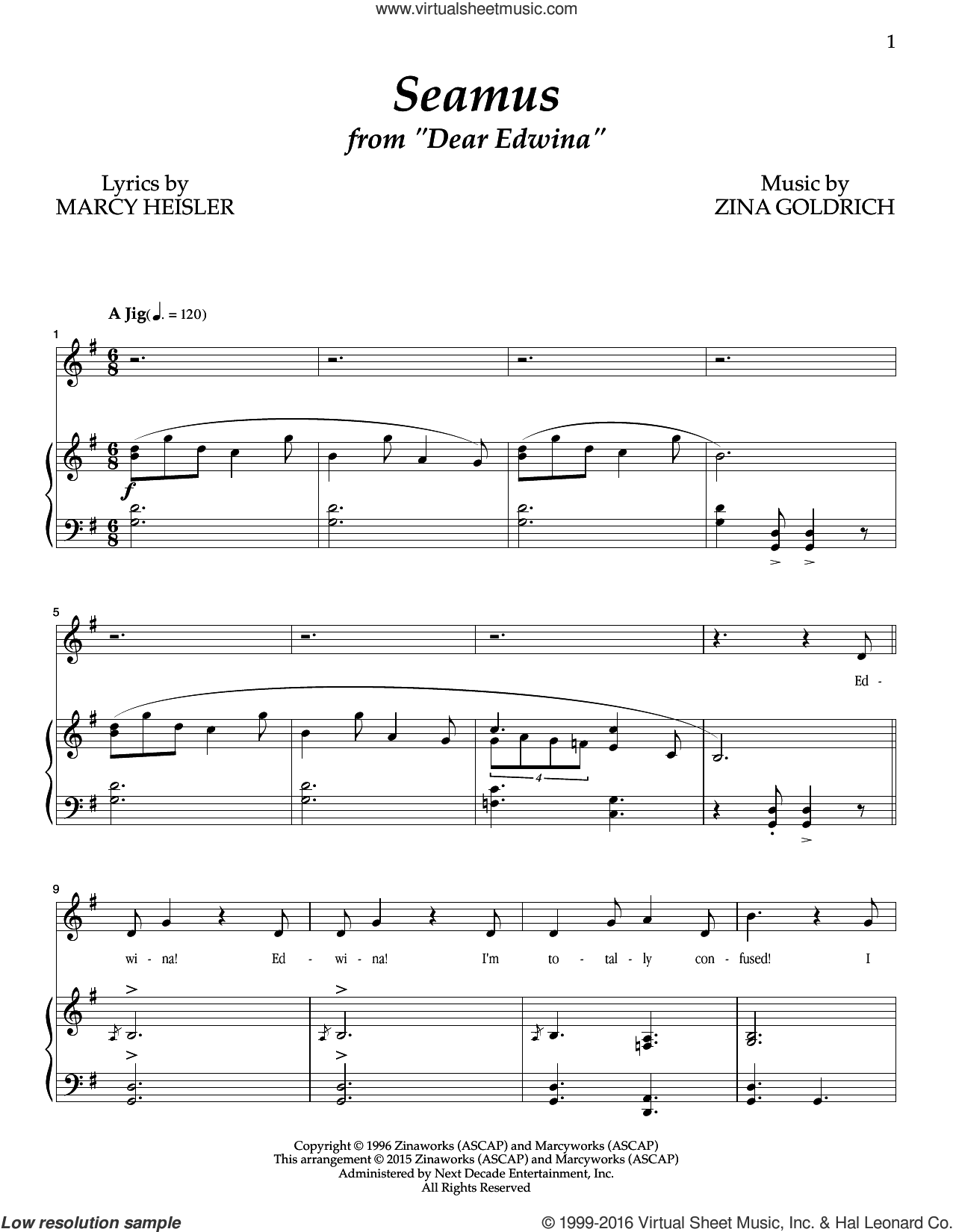 Seamus sheet music for voice and piano by Marcy Heisler, Goldrich & Heisler and Zina Goldrich. Score Image Preview.
