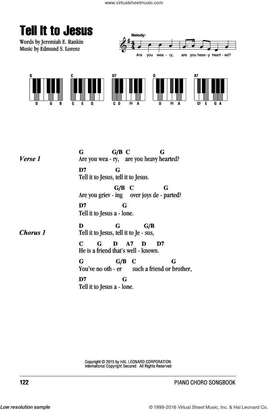 Tell It To Jesus sheet music for piano solo (chords, lyrics, melody) by Edmund S. Lorenz and Jeremiah E. Rankin. Score Image Preview.