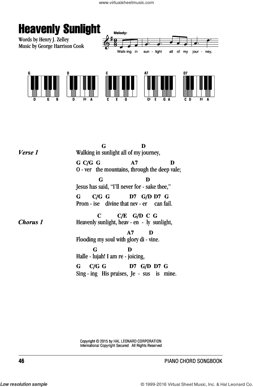 Heavenly Sunlight sheet music for piano solo (chords, lyrics, melody) by George Harrison Cook and Henry J. Zelley, intermediate piano (chords, lyrics, melody)