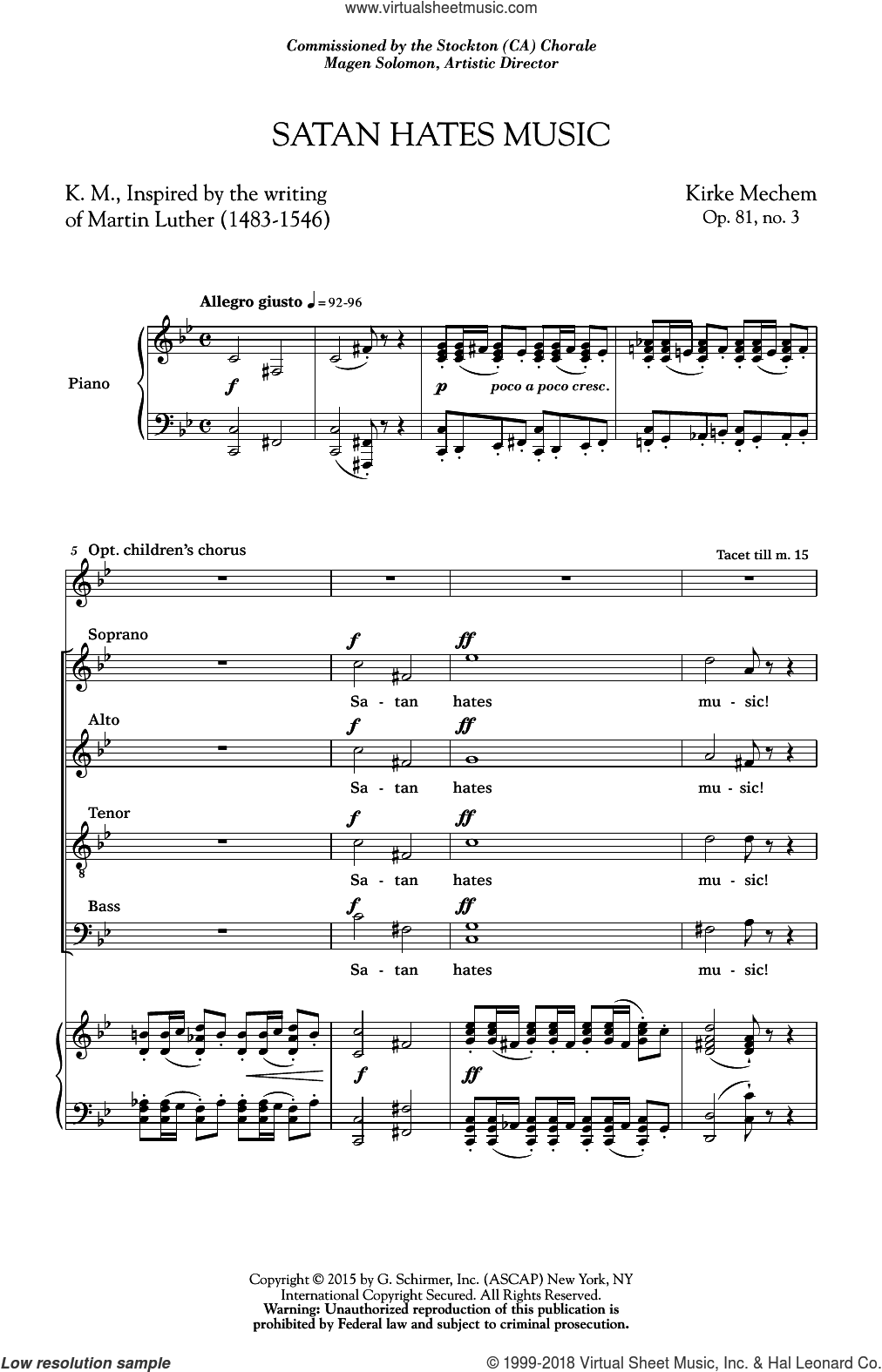 Satan Hates Music sheet music for choir by Kirke Mechem. Score Image Preview.
