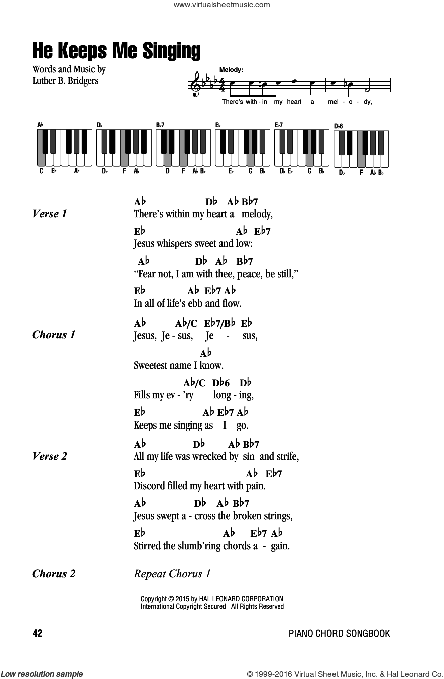 He Keeps Me Singing sheet music for piano solo (chords, lyrics, melody) by Luther B. Bridgers. Score Image Preview.